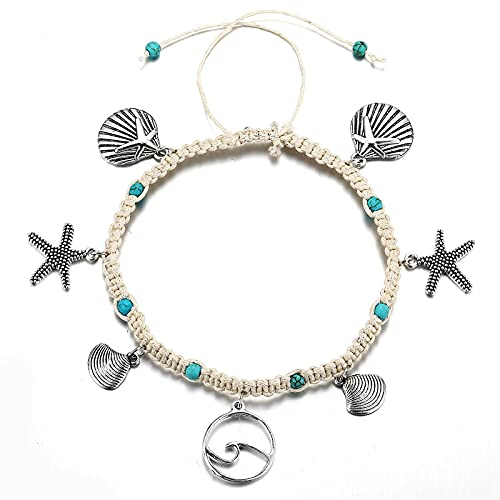 Larancie Boho Anklet Star Shell Ring Pendant Silver Ankle Chain Turquoise Anklet Hand Woven Summer Beach Anklet Bracelet for Women and Girls Fashion Jewelry Party Accessories