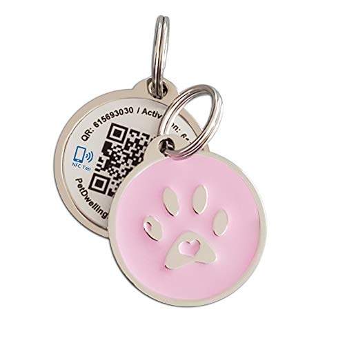 PetDwelling Smart Touch Pink Paw NFC/QR Code Pet ID Tag Links to Online Profile/Emergency Contact/Medical Info/Google Map Location Stamp