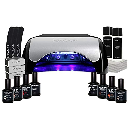 Lampara UV y LED 48W - Set Completo Secador de Uñas Gel Manicura y Pedicura - Kit Edition Ruby con 6 esmaltes semipermanentes para uñas - Cruelty free, Meanail Paris