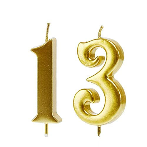 Mart 13th Birthday Candles,Gold Number 13 Cake Topper for Birthday Decorations