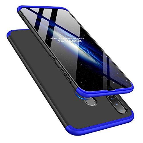 Capa Capinha Anti Impacto 360 Para Samsung Galaxy A20s Tela De 6.5Polegadas Case Acrílica Fosca Acabamento Slim Macio - Danet (Preto com azul)