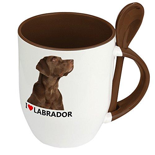 Hundetasse Labrador - Löffel-Tasse mit Hundebild Labrador - Becher, Kaffeetasse, Kaffeebecher, Mug - Braun
