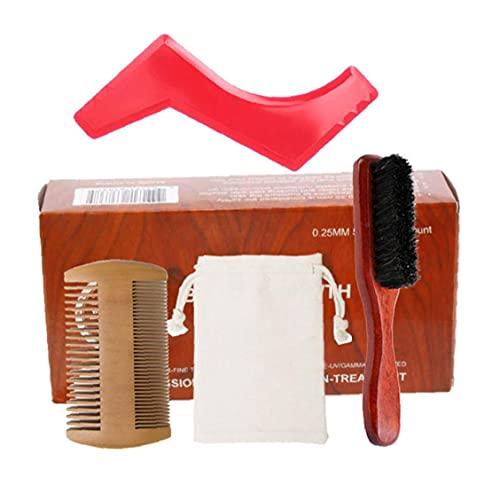 Runfon Kit para el Cuidado de la Barba Crecimiento de la Barba y estética Kit de Recorte del Pelo fijados Barba Peine Cepillo Estimular Crecimiento de la Barba con la Regla Shape Regalo para los