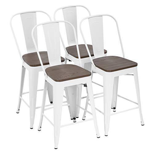 FDW Set of 4 Counter Height Barstool Modern Bar Stool with Back 24 Inches Seat Height Industrial Bar Chairs Indoor Outdoor Metal Kitchen Stools Restaurant Patio Stool Stackable