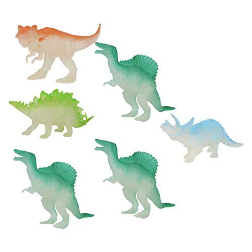 TOYANDONA 6 Piezas Que Brillan en La Oscuridad Juguetes de Dinosaurio Mini Figuras de Dinosaurio de Plástico Realistas Figuras de Acción Animales Jurásicas Luminosas de Bosque Modelo de