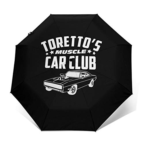 Fast and The Furious Torettos - Paraguas Plegable para Coche, Resistente al Viento, Compacto y con Apertura y Cierre automático, Plegable