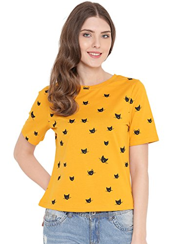 GRITSTONES Yellow Round Neck Printed Top GSWPNTTP1950YELL_S