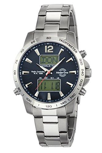 Master Time Funk Quarz Weltzeit Herren Uhr Chronograph mit Edelstahl Armband MTGS-10647-20M