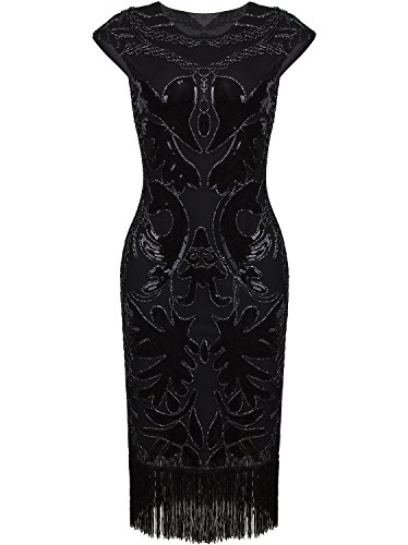 Vijiv Vintage 1920s Prom Sequin Beaded Art Deco Embellished Fringe Flapper Dress,Black,Small