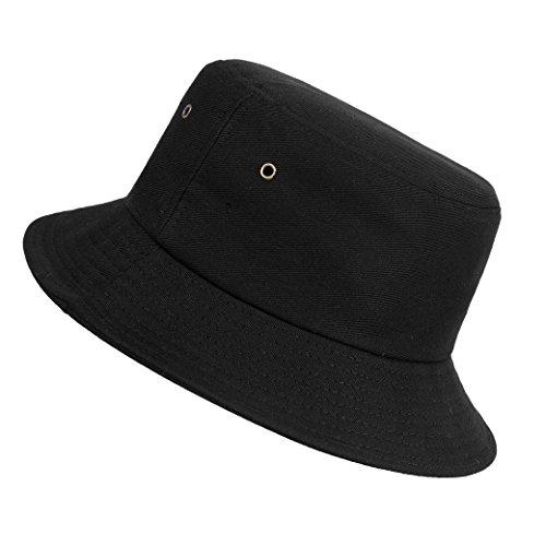 ISIYINER Cappello Pescatore Pieghevole Bucket Hat Cotone Unisex Spiaggia all'aperto Nero