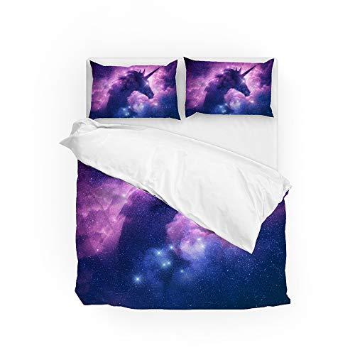 Conjunto de capa de edredom de microfibra ultramacia, conjunto de 3 peças, coleção de roupa de cama Unicorn in The Milky Way com fecho de zíper, fácil de cuidar, 1 capa de edredom 2 fronhas de travesseiro, tamanho king 264 x 228 cm