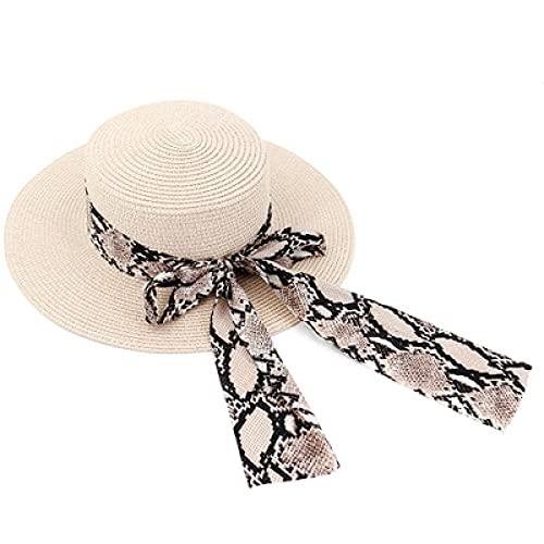 YDXC Sombreros de Sol para Mujeres con Estampado de Cinta de Paja de ala Ancha con Pajarita de Lujo para el Verano de Playa Aplicar a Las Actividades de Senderismo de Camping Etc-Camel_56-58Cm