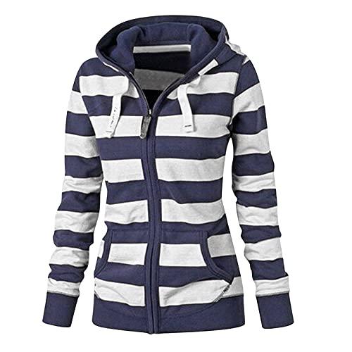Briskorry Damestrui met gestreepte print, oversized, ritssluiting, pullover, lange mouwen, hoodie, sweatshirt met capuchon, herfst, winter, tienermeisjes