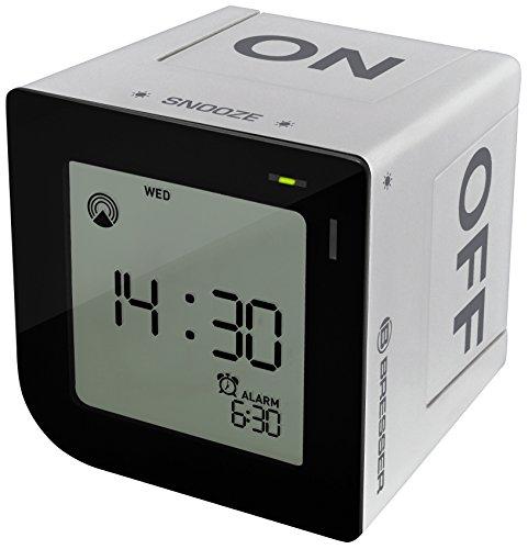 Bresser DCF Funkwecker FlipMe mit ansteigendem Crescendo Alarm und LCD-Display mit Hintergrundbeleuchtung mit Aktivieren der Weckzeit durch Kippen des Weckers und Soft-Touch Snooze Button, silber
