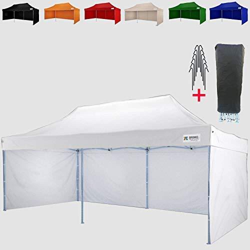 Faltpavillon Super BRIMO ® Komplett 3 volle Wände + 8 Verankerungsdübel und Schutzhülse Gratis!