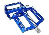 FrontStep Pedales Antideslizantes de Aluminio Pedales de Bicicleta fáciles para MTB/Pedal de Bicicleta de montaña/Pedal BMX con husillo de Acero CR-Mo (Azul)