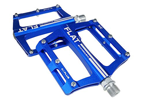UPANBIKE Mountain Bike Bearing Pedals 9/16 inch Spindle Aluminum Alloy Flat Platform for BMX MTB Road Bicycle (Blue)