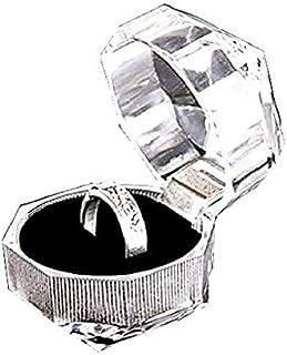 Legisdream Anillos de Puerta ataúd Transparente Joyería cojín Negro Suave con una Idea de Soporte Elegante Regalo para una...