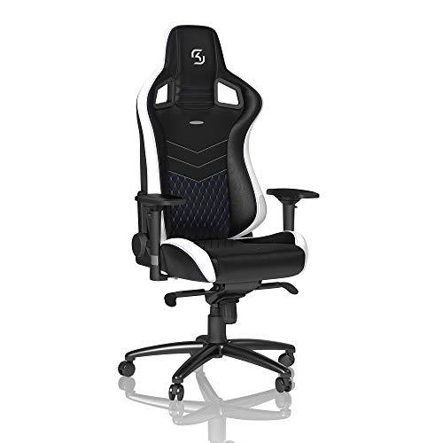 noblechairs Epic Gaming Stuhl - Bürostuhl - Schreibtischstuhl - PU-Kunstleder - Inklusive Kissen - SK Gaming Edition - Schwarz/Weiß/Blau