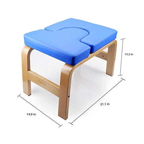 BIGTREE Yoga Fitness Exercise Headstand Bench Wood and PU Pad Steady Inversion Chair Blue