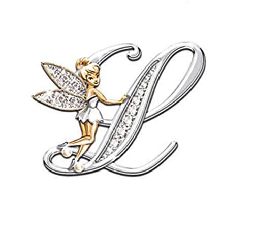 YOUYUZU Initial Letter Brooch Pins Rhinestone Crystal Elf Angel Collar Pins Brooches For Girls Women Accessories Letter L