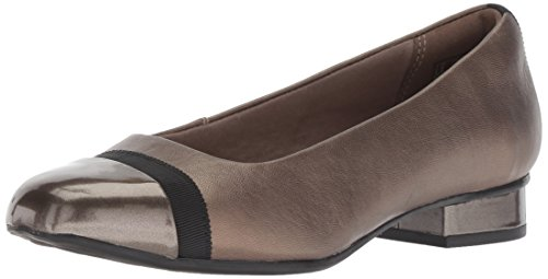 Clarks Women's Juliet Monte Pump, Pewter Leather/Synthetic, 100 M US
