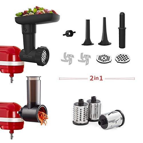 InnoMoon Food Slicer Shredder & Meat Grinder Attachment Pack for KitchenAid Stand mixer, with Sausage Filler Tube,Work as Salad Maker & Food Processor Grater