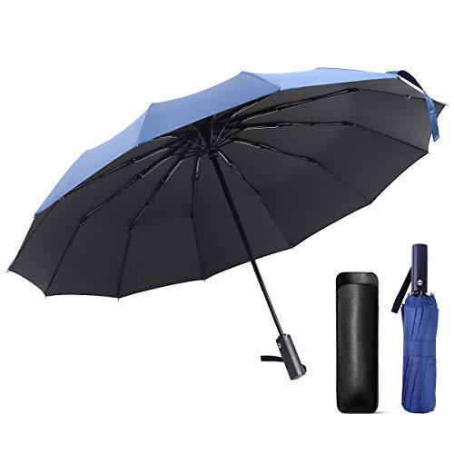 Regenschirm Sturmfest JEVDES 12 Ribs Umbrella Taschenschirm, Kleine Leichter und kompakter Schirm mit Auf-Zu-Automatik - windsicherer Taschenschirm mit Schirm-Tasche