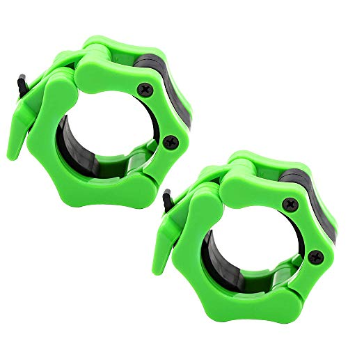 OwnZone Barbell Clamps Collars, Quick Release Pair of Locking 2-inch Olympic Barbell Clamps Weight Barbell Locks Collar Clips Great for Workout, Weightlifting, Fitness & Strength Training(Green)