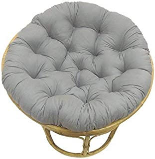COTTON CRAFT Papasan Charcoal - Overstuffed Chair Cushion, Sink into Our Thick Comfortable and Oversized Papasan, Pure 100% Cotton Duck Fabric, Fits Standard 45 inch Round Chair - Chair not Included
