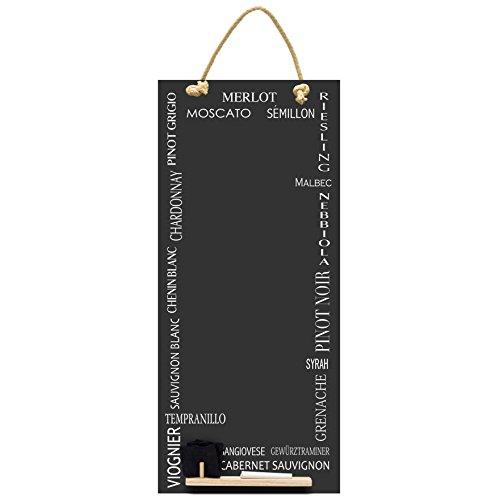 Chalkboards UK - Pizarra de cocina (alta y fina, con cuerda, bandeja y tiza, madera), madera, negro, 60 x 26.5 x 1 cm