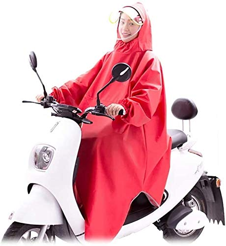 Poncho Waterproof Adult Plastic Bicycle Rain Poncho, Made Oxford Fabric And PVC, Waterproof, Windproof, Wear-Resistant, Motorcycle/Electric Vehicle SLZFLSSHPK (Size : Red)