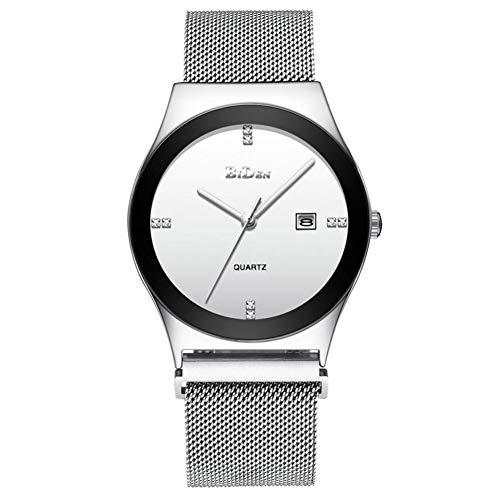 GJHBFUK Reloj Moda Casual Hombre Analógico Pantalla Analografía Impermeable Movimiento De Cuarzo Reloj De Pulsera (Blanco + Plata)
