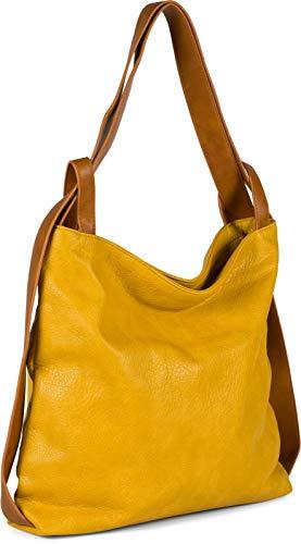 styleBREAKER Damen Rucksackhandtasche aus zweifarbigem Kunstleder, Reißverschluss, Shopper, Schultertasche, Rucksack 02012359, Farbe:Senf
