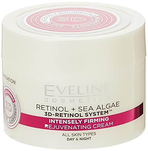 Eveline Cosmetics, Nature Line 3D Meeresalgen Intensiv Straffende Verjüngende Tages und Nachtcreme reduziert Falten feine Linien Altersflecken für alle Hauttypen, Retinol & Sea Algae, 50 ml