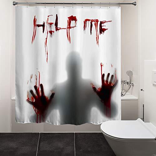 "HIYOO Halloween Horror Scary Bloody Shower Curtain with Hooks, Hallowmas Zombie Vampire Shower Curtain Sets, Art Decor for Bathroom Bathtub, Waterproof White Fabric - Help Me 72"" W x 72"" L"