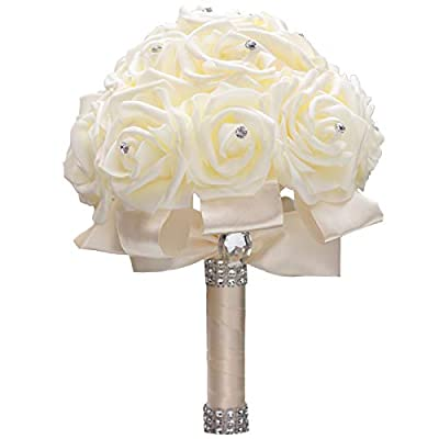 WIFELAI-A Ivory Cream Bouquet for Bride Bridesmaids with Diamond Soft Ribbons Artificial PE Rose Bridal Holding Flowers for Wedding, Party and Church(Dia:8.26inchH:10inch Ivory W2018)