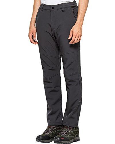 Jessie Kidden Men's Outdoor Windproof Waterproof Hiking Mountain Ski Pants, Soft Shell Fleece Lined Trousers #5088-Grey,US 2XL 36