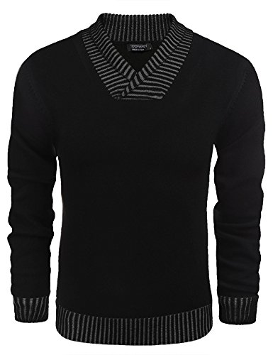 Coofandy Men's Knitted Sweaters Casual V-neck Slim Fit Pullover Knitwear,Black,Small