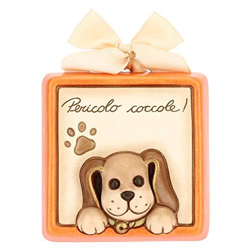 THUN - Formella Quadrata Pericolo Coccole con Cane - Accessori per la Casa - Linea Cani e Gatti - Formato Piccolo - Ceramica - 10 x 3.3 x 10 h cm