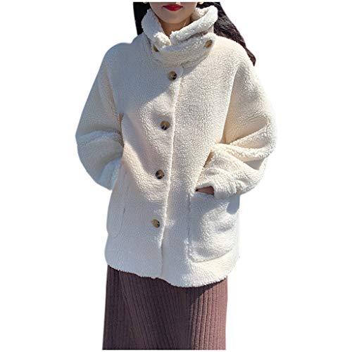 KPPONG Winterjacke Damen Schalkragen Teddyfleece Mantel Langarm Knopfmantel Plüschmantel Winterjacke Outwear Parka