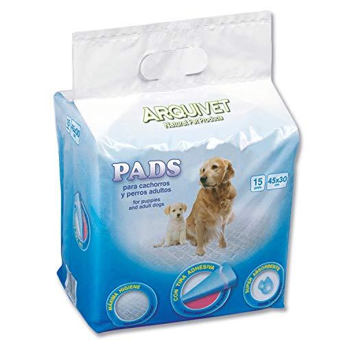 Arquivet Pads para Perros súper absorbentes - Empapadores higiénicos educativos para Perros - Empapadores Desechables - Alfombrilla higiénica para Perros - 15 uds. - 30 x 45 cm