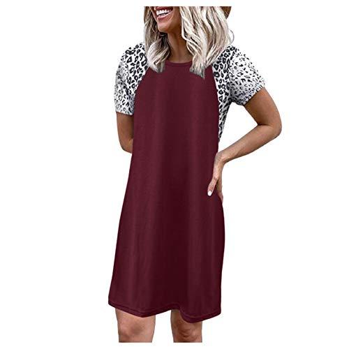 YANFANG Mujeres Leopardo Manga Corta o Cuello Suelto cómodo salón Casual Desgaste Camisas Vestido,Vestido Bohemio Mujer