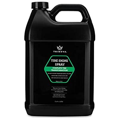 Tire Shine Spray - Dressing for Wet & Slick Finish - Keeps Tires Black - With Rubber Protector - Prevents Fading, Cracking & Yellowing - Repels Water, Salt & Dirt