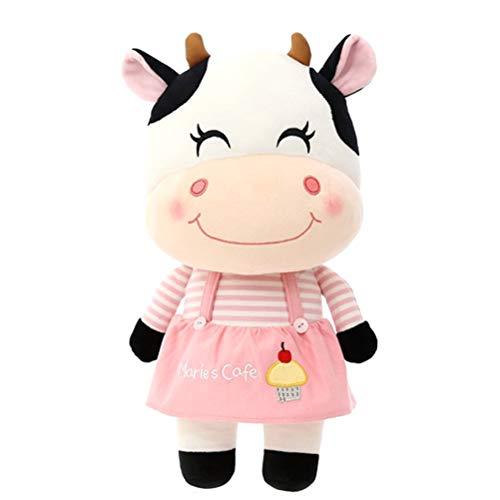 Ourine Juguete de Peluche de Vaca lechera de Ganado, 25cm Juguete de Felpa Suave Kawaii Juguete de Peluche de Vaca de Vaca lechera de Peluche Muñecas de Peluche Suaves Juguetes Regalo para niños Rosa