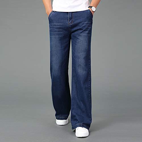 Vaqueros Vaqueros De Pierna Ancha Cálidos para Hombre Pantalones Casuales De Negocios Color Negro Azul Pantalones 28 Azul Oscuro
