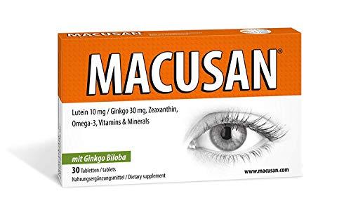Macusan Suplementos para la Vista | Vitamina con Luteína, Zeaxantina, Ginkgo y Omega 3 para Mejorar la Vista | Tabletas para Mejorar la Visión