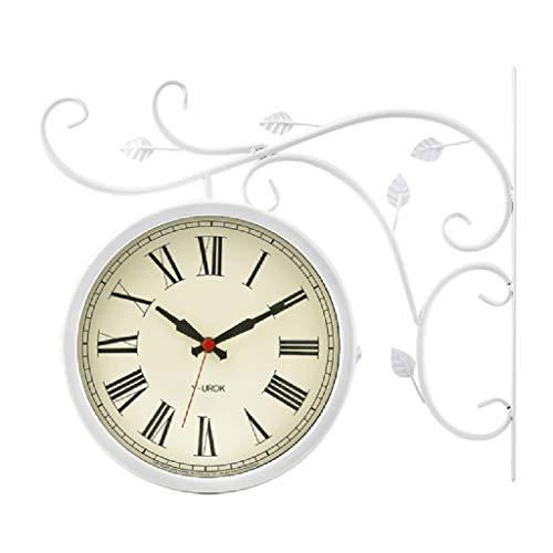 YF-Clock Rétro Double Face Horloge Murale Style Européen Créatif Vintage Silent Station Horloge Salon Chambre Etude Pastorale Jardin Extérieur Décoration Murale - 40 × 40 cm