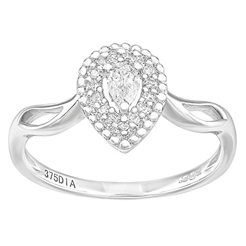 Naava 9ct wit goud traan 0.25ct halo diamant solitaire verlovingsring