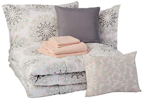 AmazonBasics 10-Piece Comforter Bedding Set, King, Grey Boho Medallion, Microfiber, Ultra-Soft